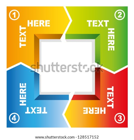 4 process of square loop diagram, business flow presentation - stock vector
