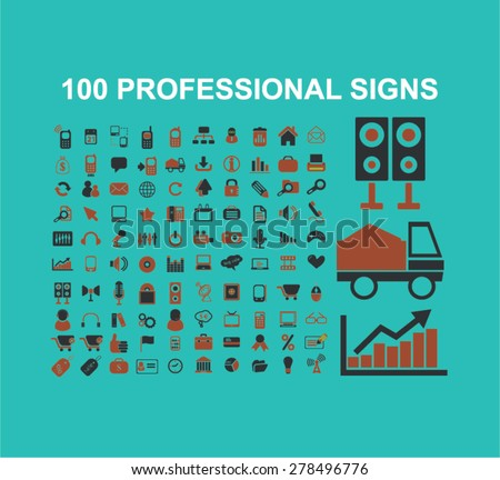 100 professional business, marketing, management icons, signs, illustrations set, vector - stock vector