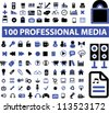 100 professional media icons set, vector - stock photo