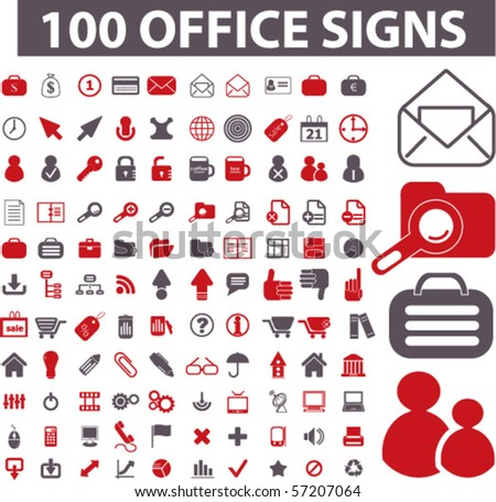 100 professional office signs. vector - stock vector