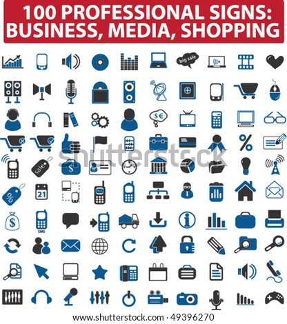 100 professional signs: business, media, shopping. vector