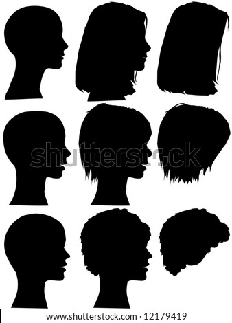 3 Profile Silhouettes Women Silhouettes Beauty Stock