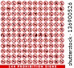 144 Prohibition signs, set vector illustration - stock photo