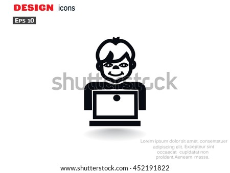 Pupil Icon Flat. - stock vector