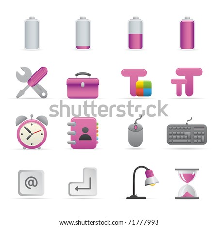 01 Purple Computer Icons Professional vector set for your website, application, or presentation. The graphics can easily be edited color individually and be scaled to any size - stock vector