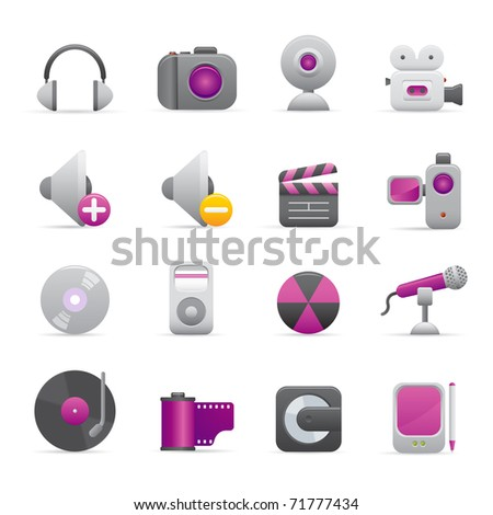 08 Purple Multimedia Icons Professional vector set for your website, application, or presentation. The graphics can easily be edited color individually and be scaled to any size