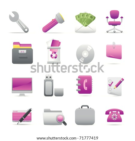 11 Purple Office Icons Professional vector set for your website, application, or presentation. The graphics can easily be edited color individually and be scaled to any size - stock vector