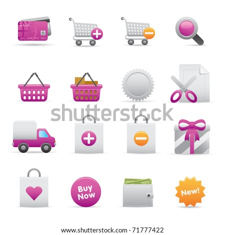 13 Purple Shopping Icons Professional vector set for your website, application, or presentation. The graphics can easily be edited color individually and be scaled to any size - stock vector