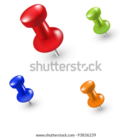 4 Push Pin, Isolated On White Background, Vector Illustration - stock vector