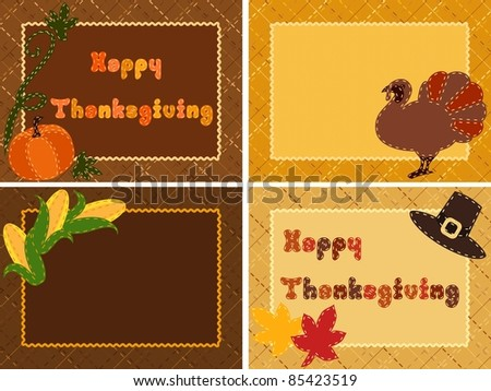 Quilted Thanksgiving postcards (eps10);  jpg version also available - stock vector