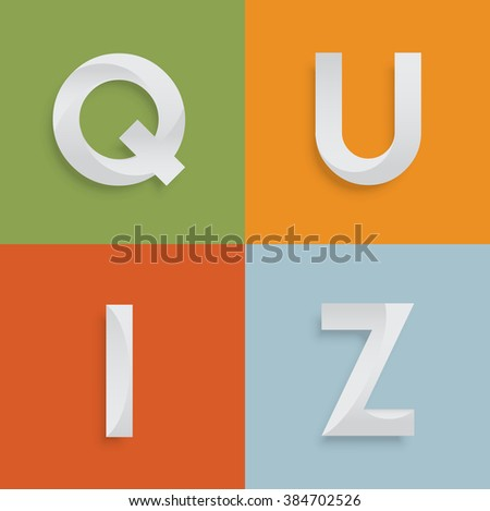 'QUIZ' four-letter-word for websites, illustration, vector - stock vector