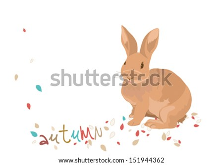 rabbit in the autumn leaves - stock vector