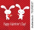 2 Rabbits With Hearts, Valentines Day Greeting Card, Vector Illustration - stock photo
