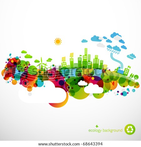 rainbow ecotown - modern abstract ecology town illustration - stock vector
