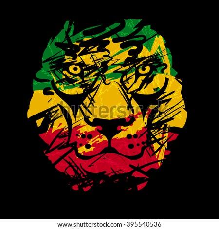 Rasta theme with lion head on black background. Vector illustration. - stock vector