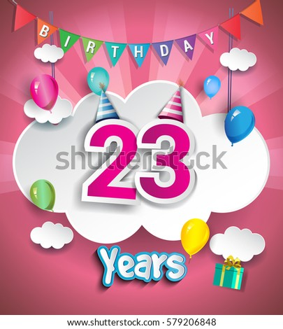 23rd Anniversary Celebration Design With Clouds And Balloons Using Paper Art Style