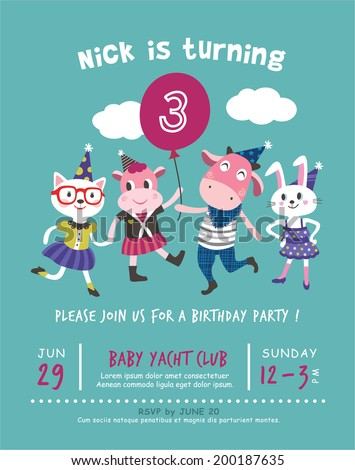 3rd birthday party invitation card stock vector hd royalty free 3rd birthday party invitation card filmwisefo