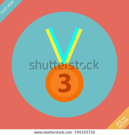 3rd Position Bronze Medal Icon - vector illustration. Flat design element - stock vector