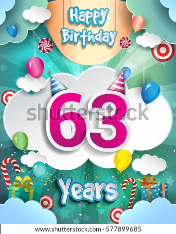 63rd years birthday design greeting cards stock vector 577899685 63rd years birthday design for greeting cards and poster with clouds and gift box m4hsunfo