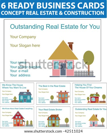 6 ready real estate business cards stock vector 42511024 shutterstock 6 ready real estate business cards vector reheart Images