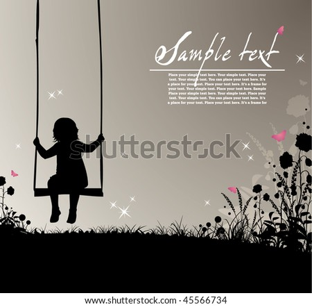 ready-to-use placard with silhouette of a girl sitting on a swing, flowers and colored butterflies , just add your text  and use as placards or invitations to advertise your action! - stock vector