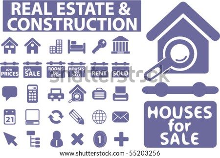 30 real esate & construction signs. vector - stock vector