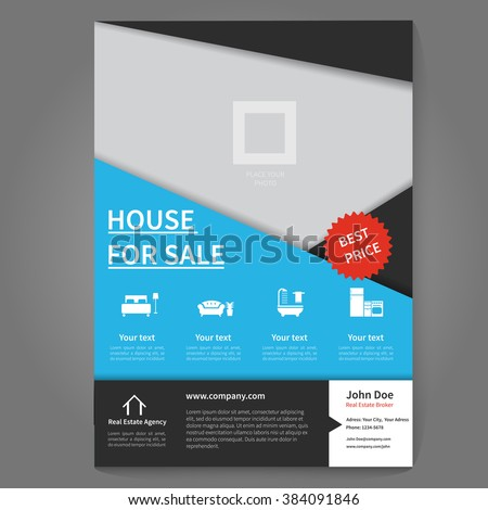Real estate broker flyer and poster template. Flyer concept. - stock vector