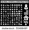 100 real estate & construction white signs. vector - stock vector