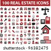 100 real estate icons set, vector - stock photo