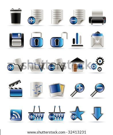 25 Realistic Detailed Internet Icons - Vector Icon Set - stock vector