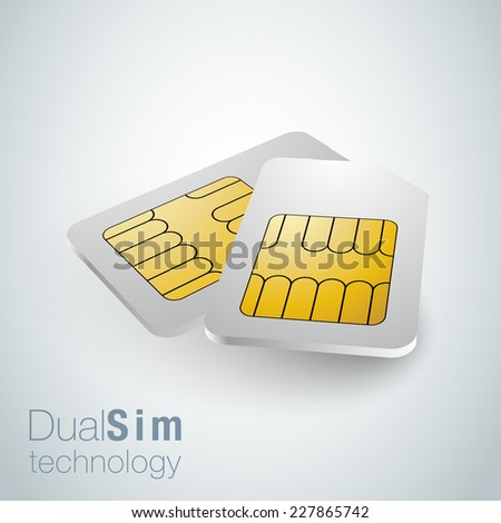 Realistic sim cards, dual sim technology - stock vector