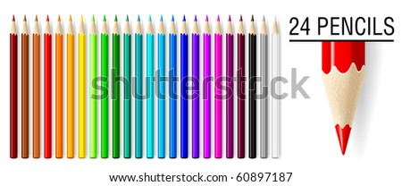 24 realistic vector pencils set isolated on white background.