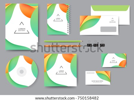 ?reative corporate identity template with abstract lines and waves