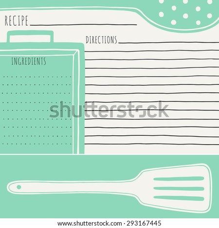 Recipe Card Design Vector Illustration Hand Stock Vector 293167445 ...