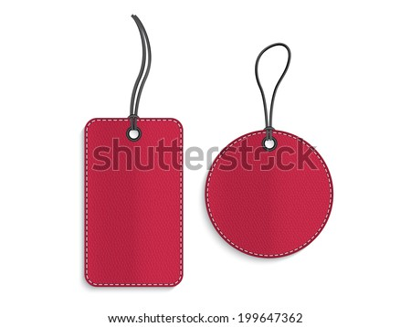 Rectangle and circle red leather tags on white background - stock vector