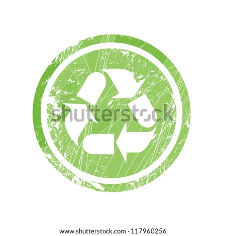 Recycling symbol for stamp and labels/Recycling - stock vector