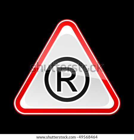 Red attention warning sign with registered symbol on black - stock vector
