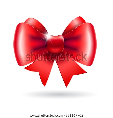 Red bow isolated on a white background. Vector illustration for Christmas posters, icons, greeting cards, print projects. - stock vector