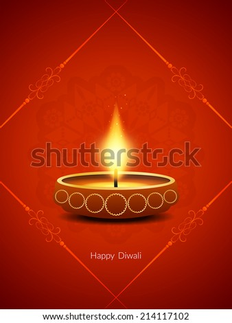 red color card design for Diwali festival with beautiful lamp.  - stock vector