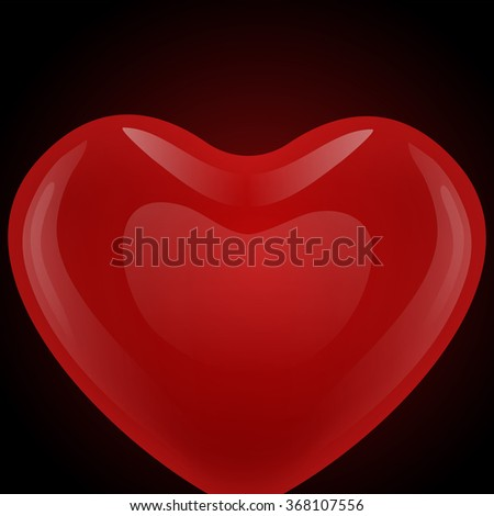 Red gel floating balloon in the shape of heart looks from below on a black background. - stock vector