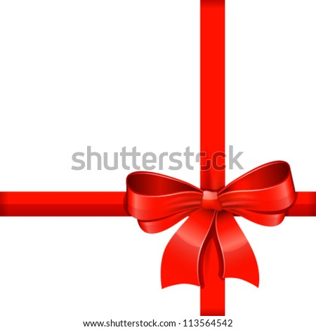 Red gift bow with ribbons. Vector. - stock vector