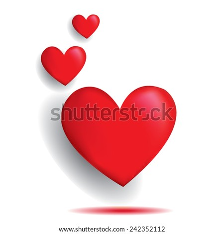 3 red heart shadow on white background ,vector   - stock vector