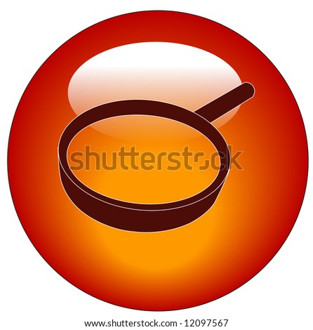 red magnifying glass web button or icon - vector - stock vector