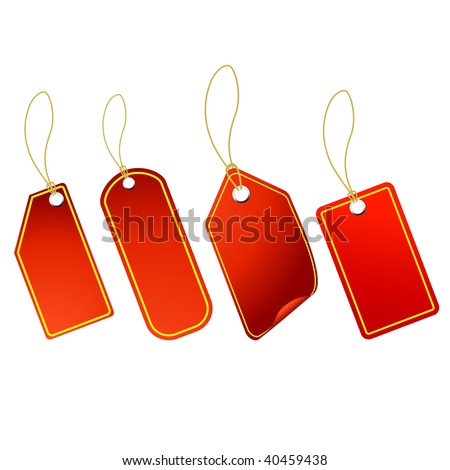 4 Red tags vector