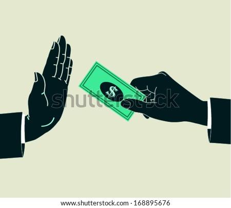 refusing bribe - stock vector
