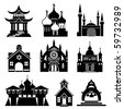 religious buildings and structures - stock vector
