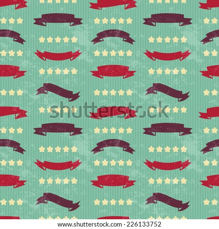 Retro background. Hipster. Design elements - retro ribbons, labels and stars. Seamless pattern background. Vector illustration.