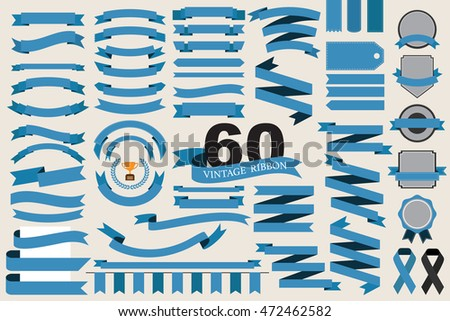60 retro blue ribbons and labels.illustration eps10
