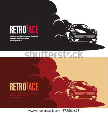 retro car race banner retro style stock vector 372561625 shutterstock. Black Bedroom Furniture Sets. Home Design Ideas