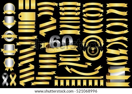 60 retro gold ribbons and labels.illustration eps10